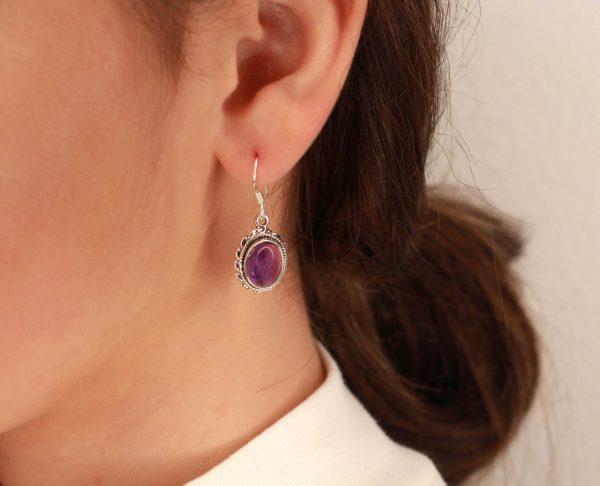 amethist edelsteen oorbellen