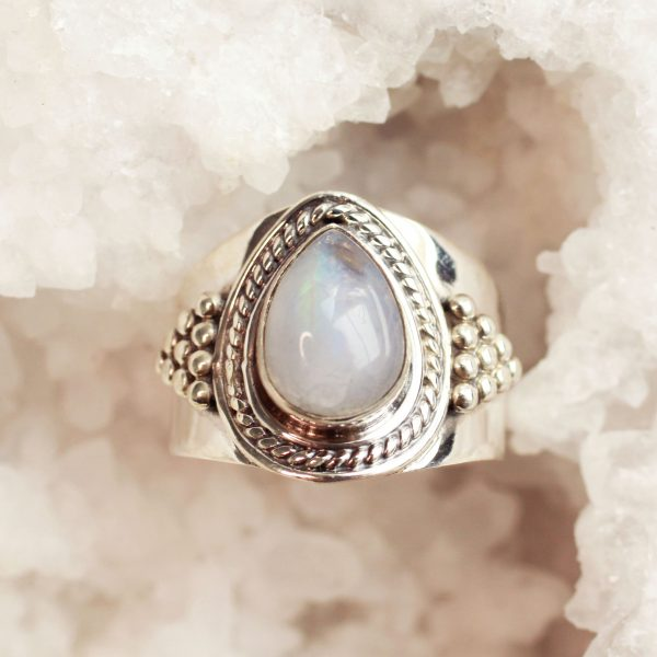 brede maansteen ring boho