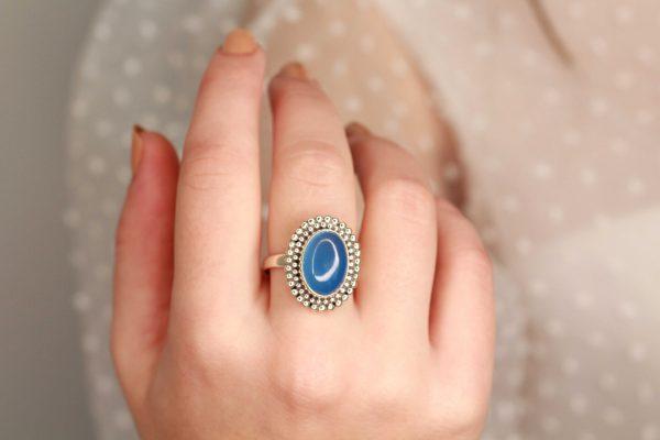 blauw edelsteen ring