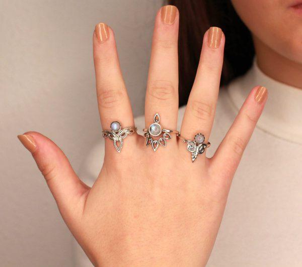boho moonstone rings