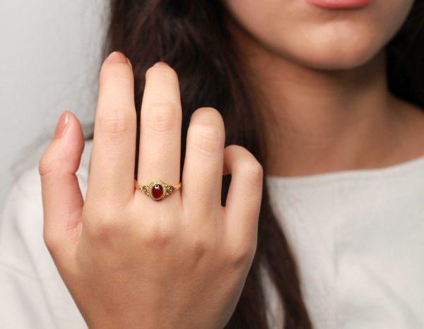 granaat gouden ring