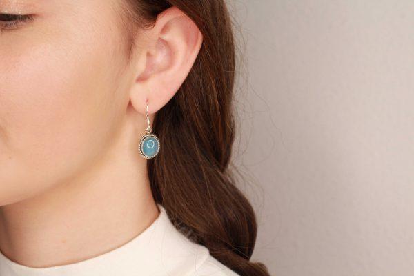 chalcedoon oorhangers