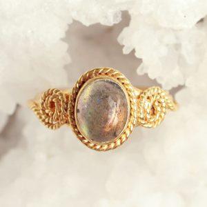 goud labradoriet ring