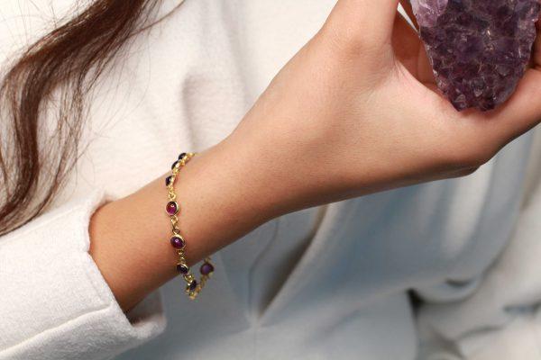 amethist gouden armband