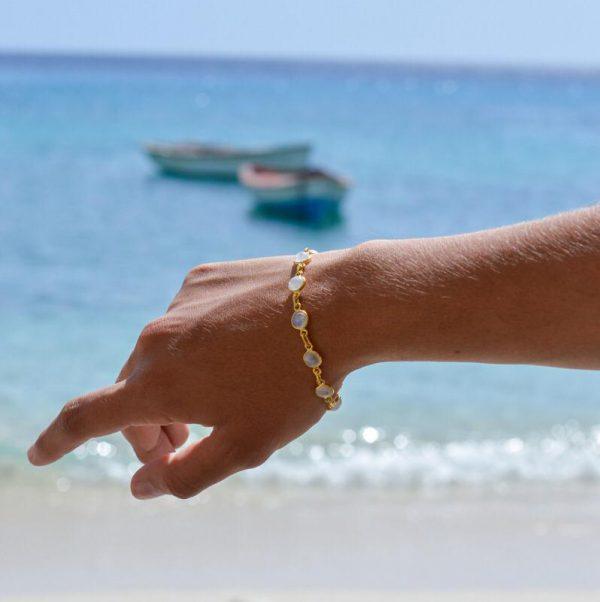 maansteen armband goud