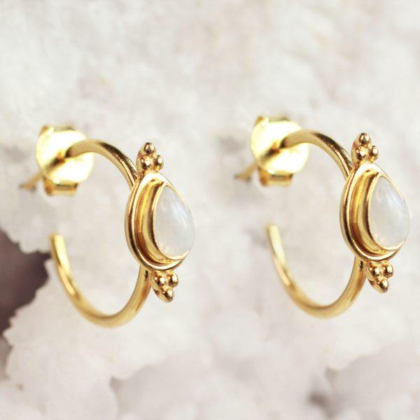 goud maansteen oorbellen