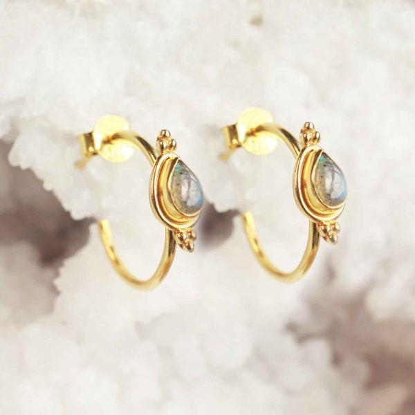 goud labradoriet oorbellen