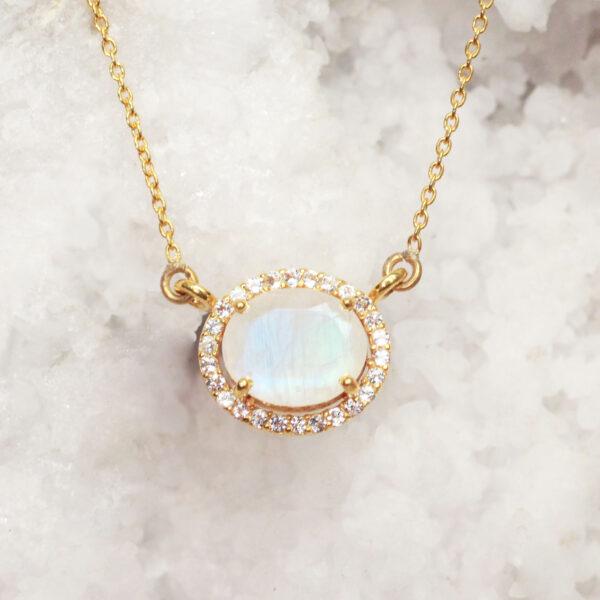 maansteen ketting met diamanten