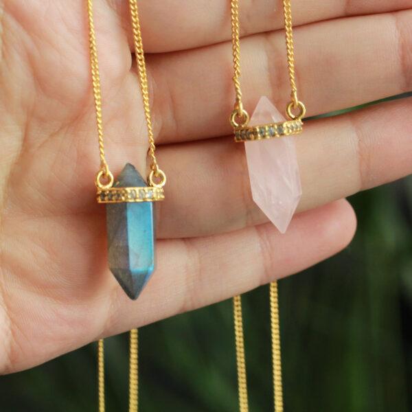 pencil gemstone necklace