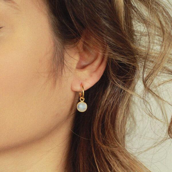 maansteen goud oorringen