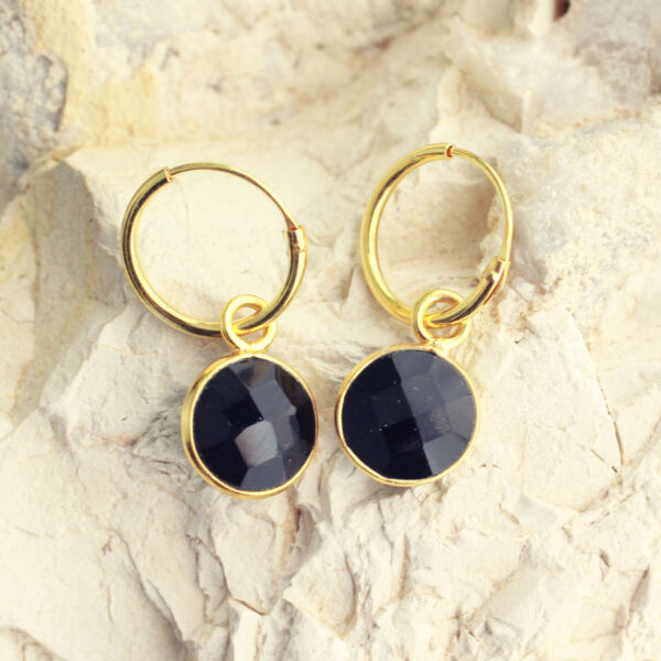 goud onyx oorbellen