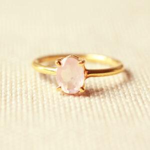 rozenkwarts ring goud