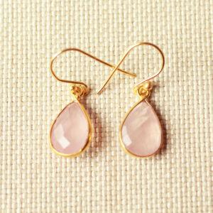 Rozenkwarts goud oorbellen