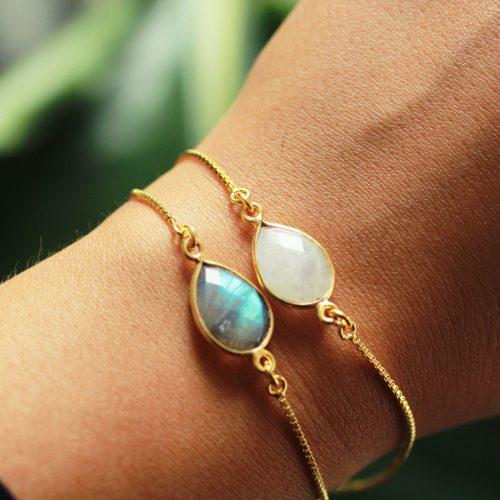 edelsteen armband goud